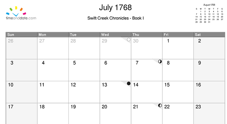 June Calendar History : Create a historical calendar with moon phases east